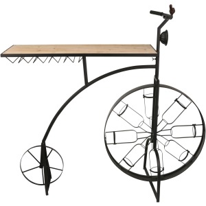 Metal & Wood Bike Wine Rack, Black