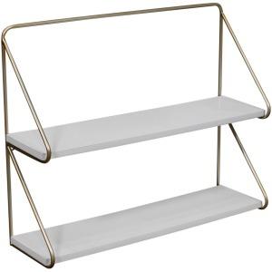 "Metal /wood 20"" 2 Teier Wall Shelf, White/gold"