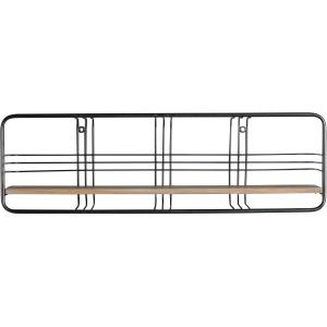 "Metal / Wood 30"" Wall Shelf, Black"