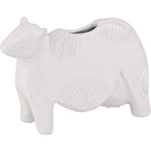 "Ceramic 8"" Cow Planter, White"