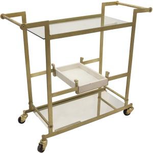 """Metal 34"""" Bar Cart W/mirroredshelves, Gold. Kd"""