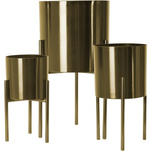 "S/3 Metal Planters On Stand 18/15/12""h, Gold"
