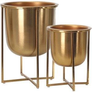 "S/2 Metal Planters On Stand 13/10""h, Gold"