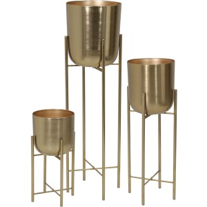 "S/3 Metal Planters On Stand 40/30/20""h, Gold"