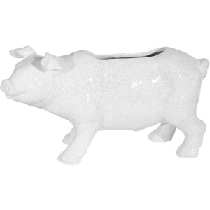 "Ceramic 16"" L Pig Planter, White"