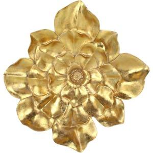 "Resin 13"" Wall Flower, Gold"