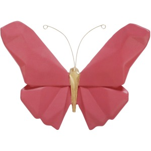 """Resin 6"""" W Origami Butterfly Wall Decor, Pink"""