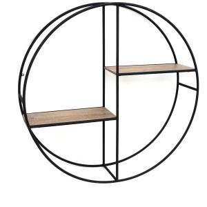 "Metal/wood 24"" Round Shelf, Black"