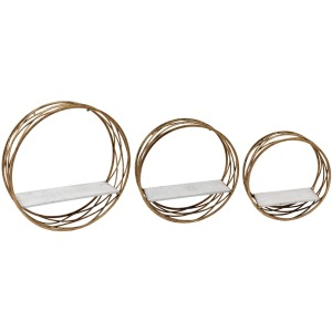 S/3 Metal Round Wall Shelves,white/gold
