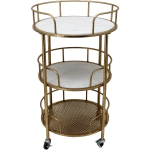 Metal 3-tier Round Bar Cart, White/gold Kd