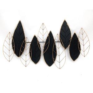 """Metal 33"""" Leaf Wall Decor, Black/gold"""