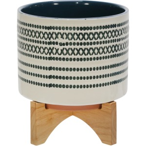 "Ceramic 8"" Planter On Standw/ Dots, Blue"