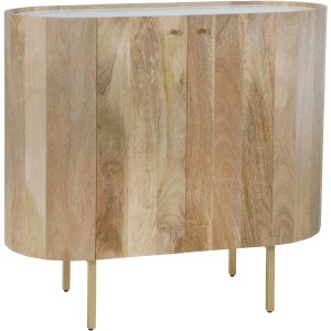 """Mango Wood 35"""" Bar Cabinet W/marble Top Brown/gold"""