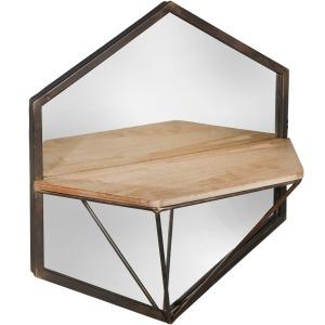 S/2 Metal/wood Wall Shelf W/mirror, Brown