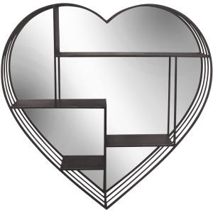 """Round 31.5"""" Heart Shelf W/ Mirror, Brown"""