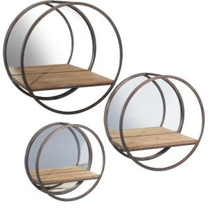 S/3 Metal/ Wood Wall Shelves W/ Mirror, Brown