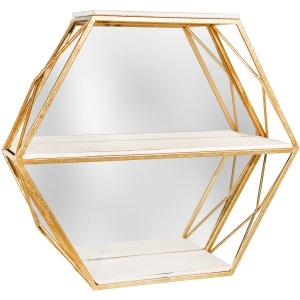 Metal / Wood 3 Tier Hexagon Wall Shelf W/ Mirror,