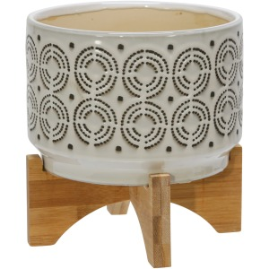 "Ceramic 7"" Swirl Planter On Stand, Ivory"