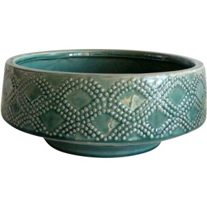 "Ceramic 11"" Dotted Bowl Planter, Green"