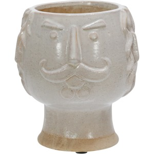 "Ceramic 6"" Grandpa Face Planter, Ivory"