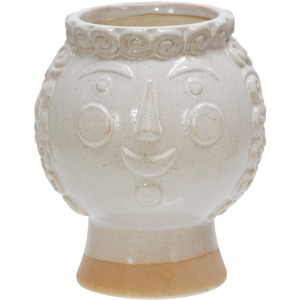 "Ceramic 6"" Grandma Face Planter, Ivory"