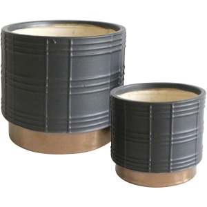 "S/2 Metallic Planters  6/8"", Black"