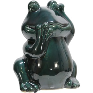 "Ceramic 9"" Frog Figurine, Green"