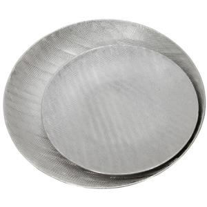 """Ceramic 19/16"""" Plates w/Scratch Finish - Silver"""