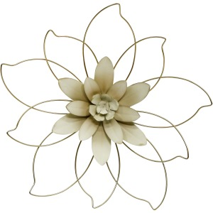 """Metal 20"""" Wall Flower, Gold/ivory"""