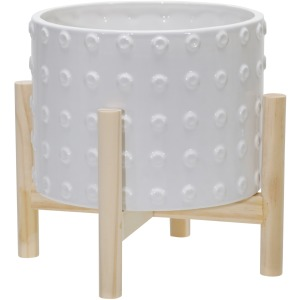 """8"""" Ceramic Dotted Planter W/ Wood Stand, White"""