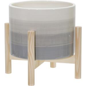 "8"" Ceramic Planter W/ Wood Stand, Beige Mix"