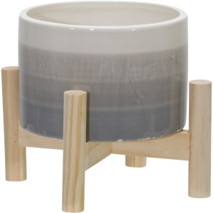 "6"" Ceramic Planter W/ Wood Stand, Beige Mix"