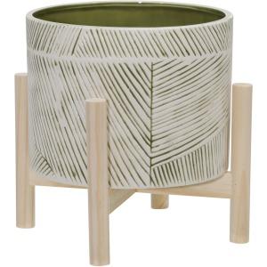 "8"" Ceramic Planter W/ Wood Stand, Green Mix"