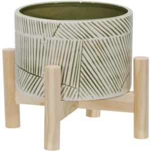 "6"" Ceramic Planter W/ Wood Stand, Green Mix"