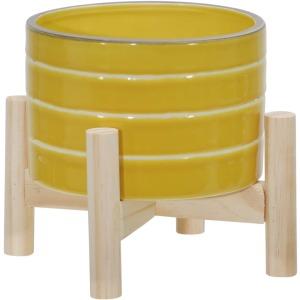 "6"" Ceramic Striped Planter W/ Wood Stand, Yellow"