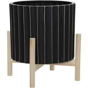 "12"" Ceramic Fluted Planter W/ Wood Stand, Black"