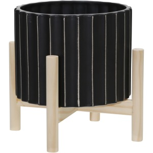 """8"""" Ceramic Fluted Planter W/ Wood Stand, Black"""