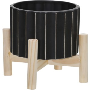 """6"""" Ceramic Fluted Planter W/ Wood Stand, Black"""