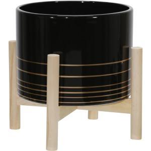 "8"" Ceramic Metallic Planter W/ Wood Stand, Black"