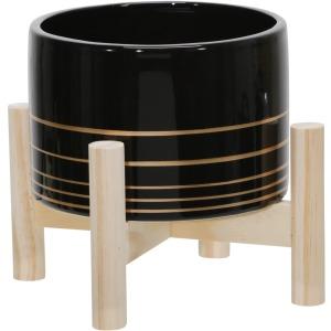 "6"" Ceramic Metallic Planter W/ Wood Stand, Black"