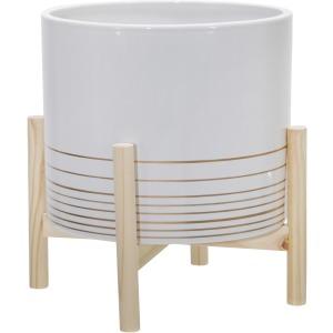 "12"" Ceramic Metallic Planter W/ Wood Stand, White"