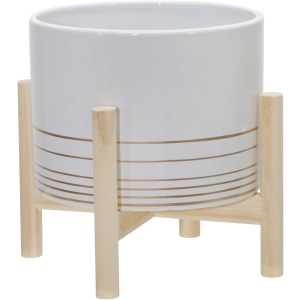 "8"" Ceramic Metallic Planter W/ Wood Stand, White"