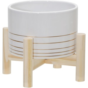 "6"" Ceramic Metallic Planter W/ Wood Stand, White"