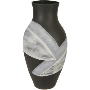 """Ceramic 18"""" Painted Vase, Matte Black"""