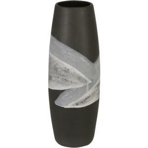 """Ceramic 14"""" Painted Vase, Matte Black"""