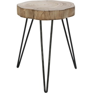 "Wood/metal 16"" Stool, Brown/black"