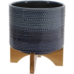 """8"""" Dotted Planter W/ Wood Stand, Blue"""