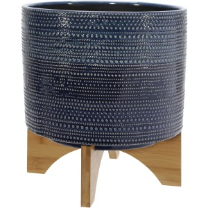 "11"" Dotted Planter W/ Wood Stand, Blue"