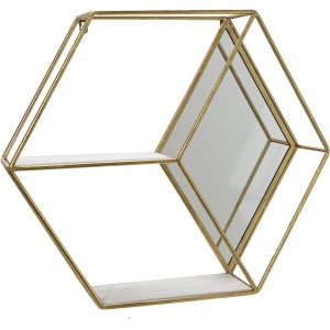 "Metal/wood 20"" Hexagon Mirrored Wall Shelf, Gold"