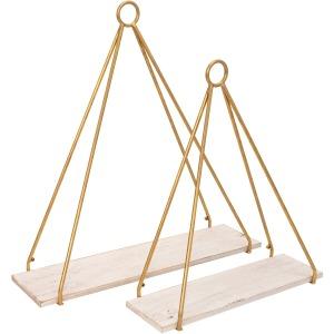 "S/2 Metal/wood 20/24"" Triangle Shelf, White/gold"